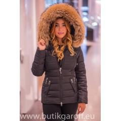 Black winter jacket Garoff with big real racoon fur collar 1582