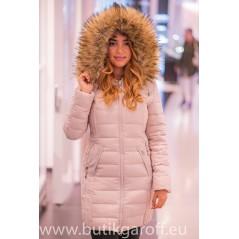 Beige winter jacket Garoff with faux fur collar 1592