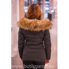 Black winter jacket Garoff with faux  fur collar 1582