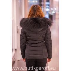 Black winter jacket Garoff with big real black fur collar 1582