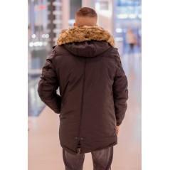 Herr svart vinter jacka med fuskpäls krage B1252
