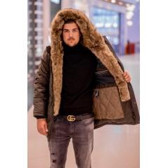 Herr khaki vinter jacka med fuskpäls krage B1252