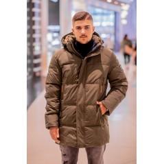Herr khaki vinter jacka med päls M272