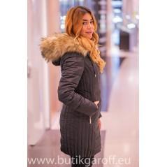 Black winter jacket Garoff with faux fur collar 1592