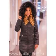 Black long winter jacket Garoff with big real racoon fur collar 1592