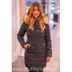 Kids Black winter jacket Garoff with faux fur collar 1592