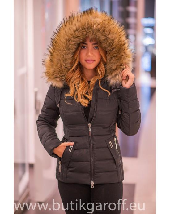 Kids Black winter jacket Garoff with faux  fur collar 1582