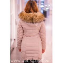 Kids Beige winter jacket Garoff with faux fur collar 1592