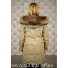 Beige Parka down jacket with real racoon fur