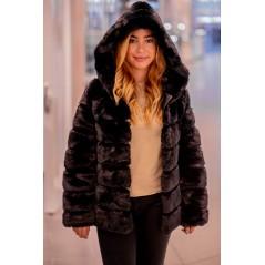 Fake fur short mink jacket - black
