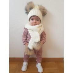 Barn Vit uppsattning med pomponger : vintermossa + halsduk