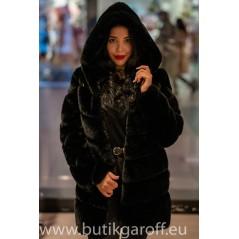Faux fur mink long jacket - Black