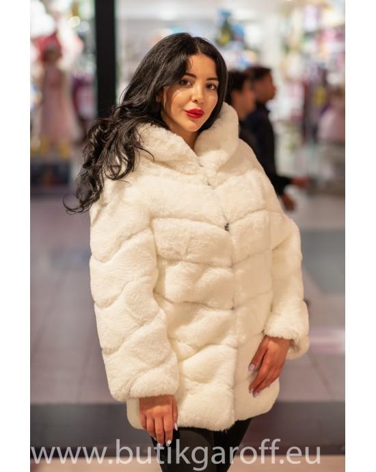 Faux fur mink long jacket - White