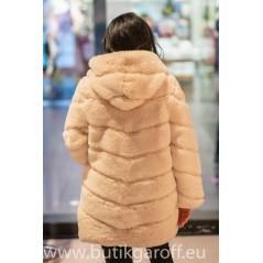 Faux fur mink long jacket - Beige