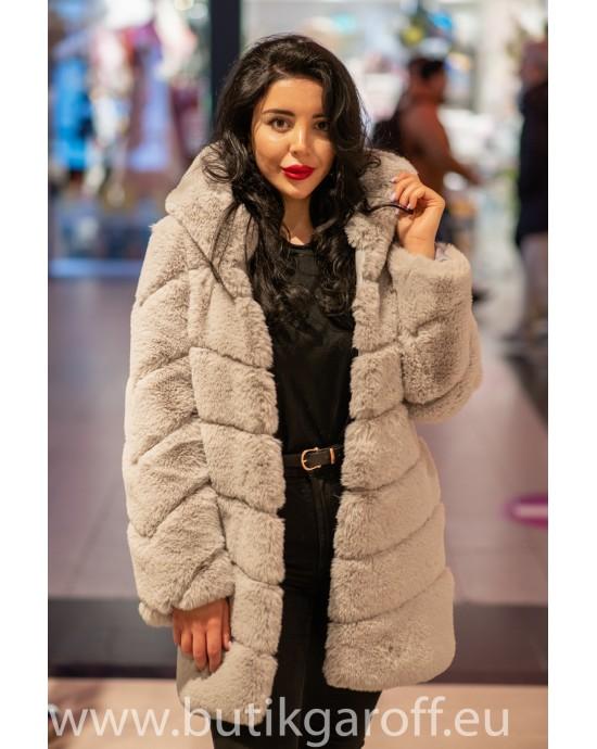 Faux fur mink long jacket - Light Grey