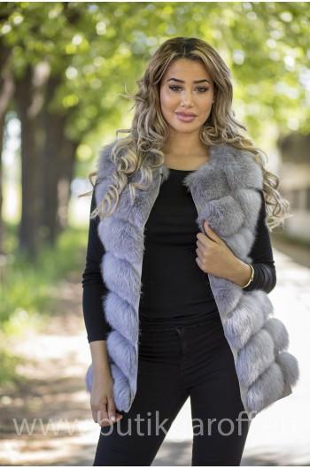 Vest real fur - light grey