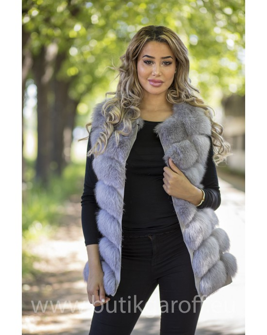 Vest real fur - light grey