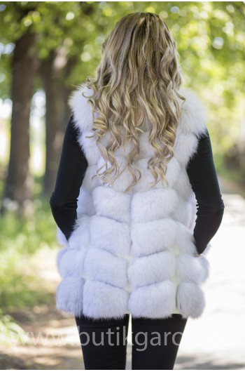 Vest real fur - natural white