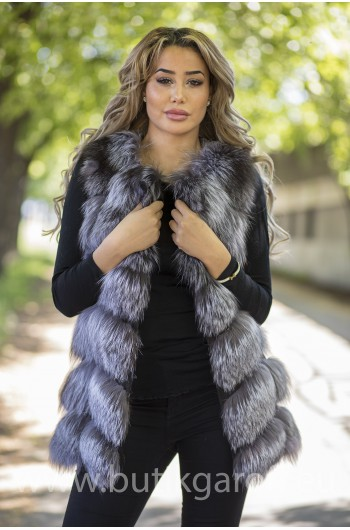 Vest real fur - silver fox