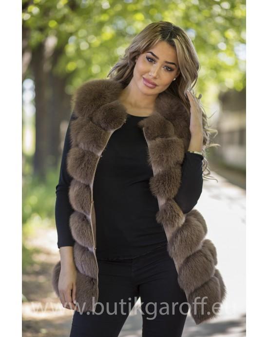 Vest real fur - brown chocolate