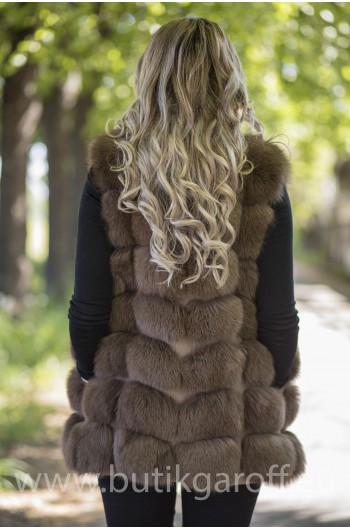 Vest real fur - brown chocolate
