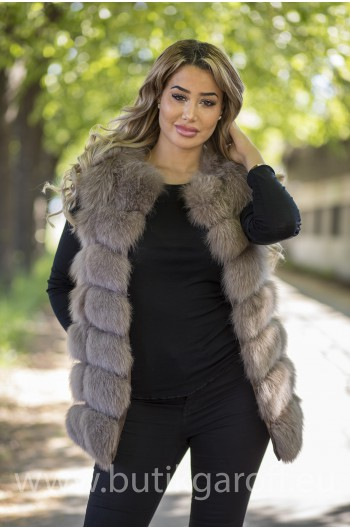 Vest real fur - light beige
