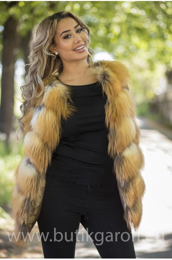 Vest real fur - gold fox
