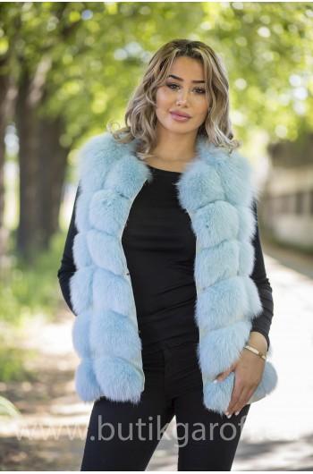 Vest real fur - baby blue