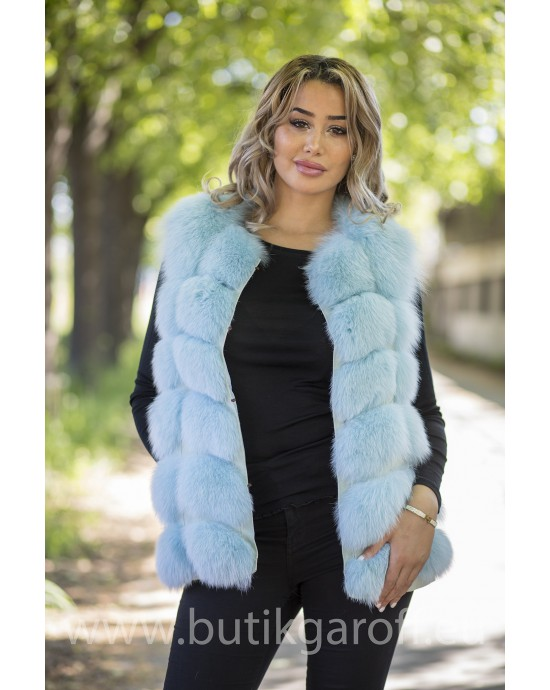 Vest real fur - baby blue