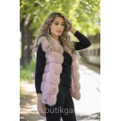 Vest real fur - indian pink
