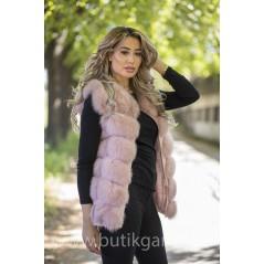 Vest real fur - indian pink