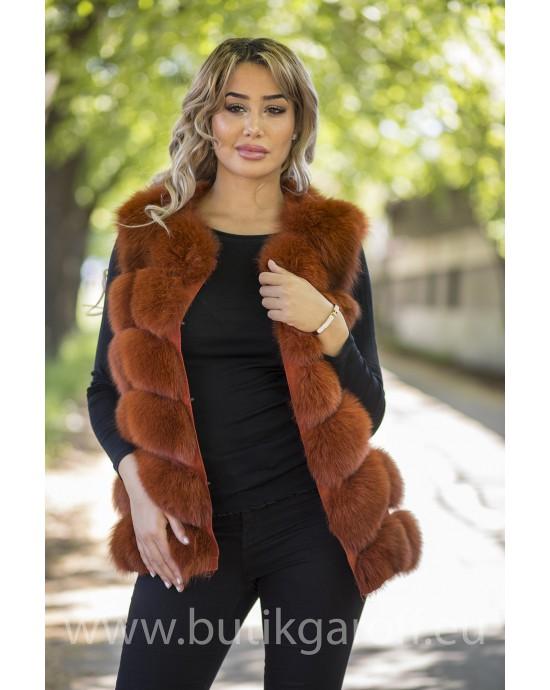 Vest real fur - california red