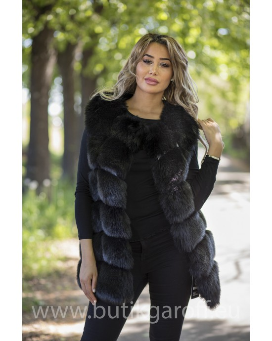 Fake fur vest - BLACK