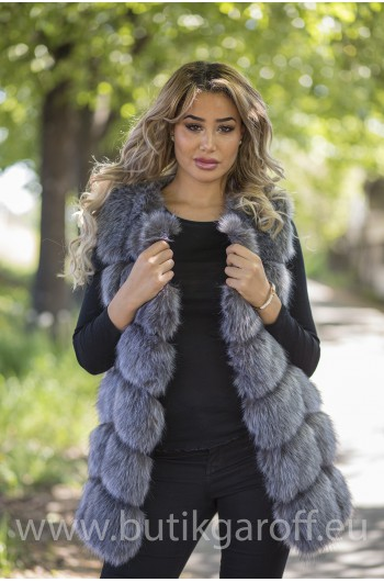 Fake fur vest - SILVER FOX