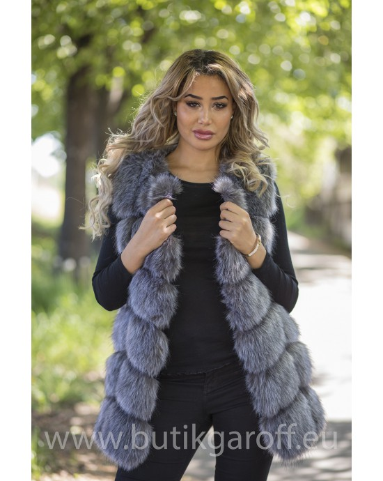 Fake fur vest - SILVER FOX
