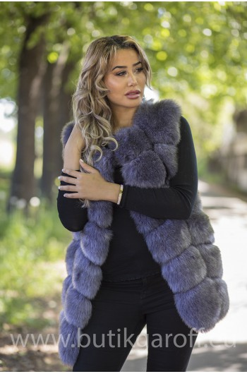 Fake fur vest - DARK GREY