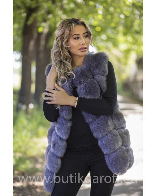 Fake fur vest - DARK GREY