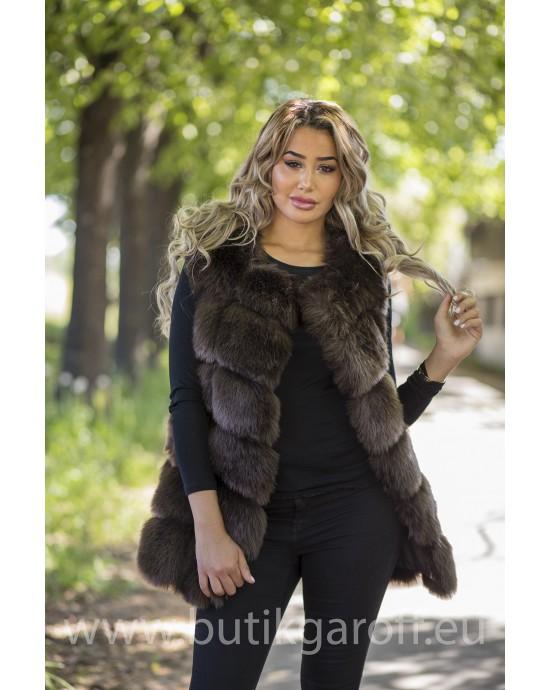 Fake fur vest - CHOCOLATE BROWN