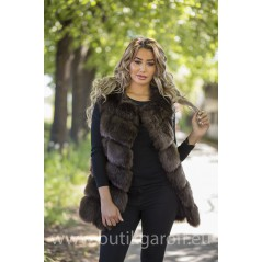 Fake fur vest - CHOCOLATE BROWN