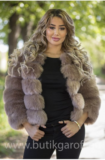 FAKE FUR 5 RINGS JACKET - LIGHT BROWN