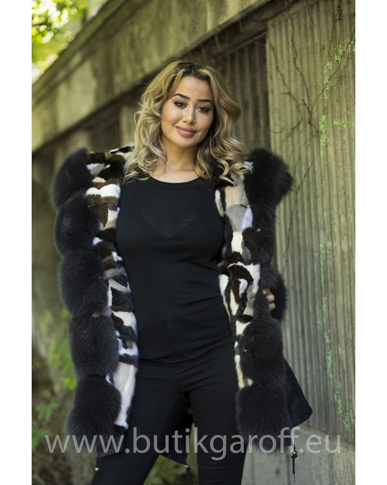 Real Fur Long Parka Mink/Fox - black camo