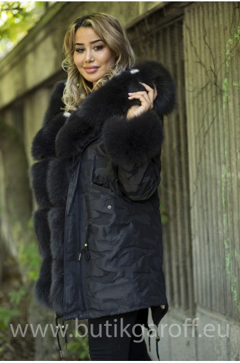 Real Fur Long Parka Mink/Fox - black camo
