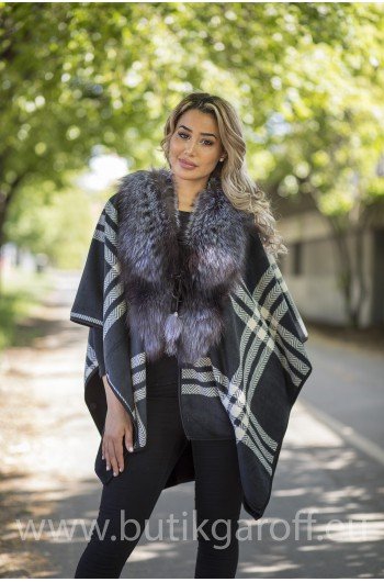 PONCHO REAL FOX FUR - MODEL 2