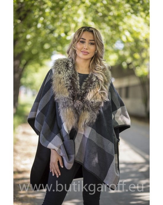 PONCHO REAL FOX FUR - MODEL 3