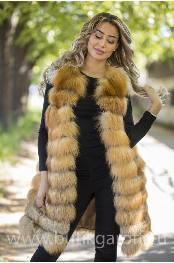 LONG Vest real fur - gold fox