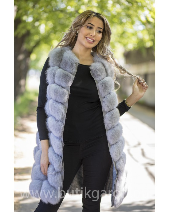 LONG Vest real fur - LIGHT GREY
