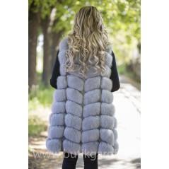 LONG Vest real fur - LIGHT GREY