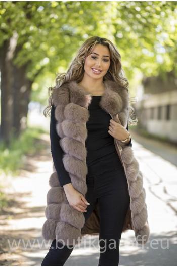 LONG Vest real fur - LIGHT BROWN