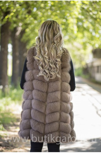 LONG Vest real fur - LIGHT BROWN