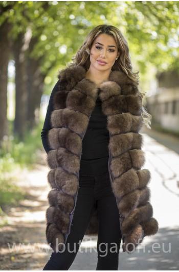 LONG Vest real fur - SOBOL 2 in 1